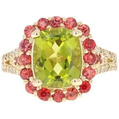 4.57 Carat Oval Cut Peridot Sapphire Diamond 14 Karat Yellow Gold Ring