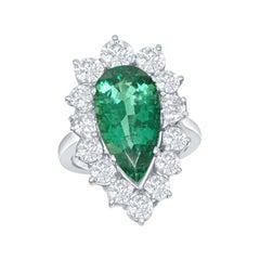 4.57 Carat Pear Shape Emerald with 2.48 Carat of Diamonds Set in Platinum