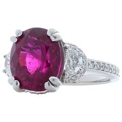 4.57 Carat Rubelite and Half Moon Diamond White Gold Cocktail Ring