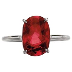 4.57 Carat Ruby and White Gold Ring