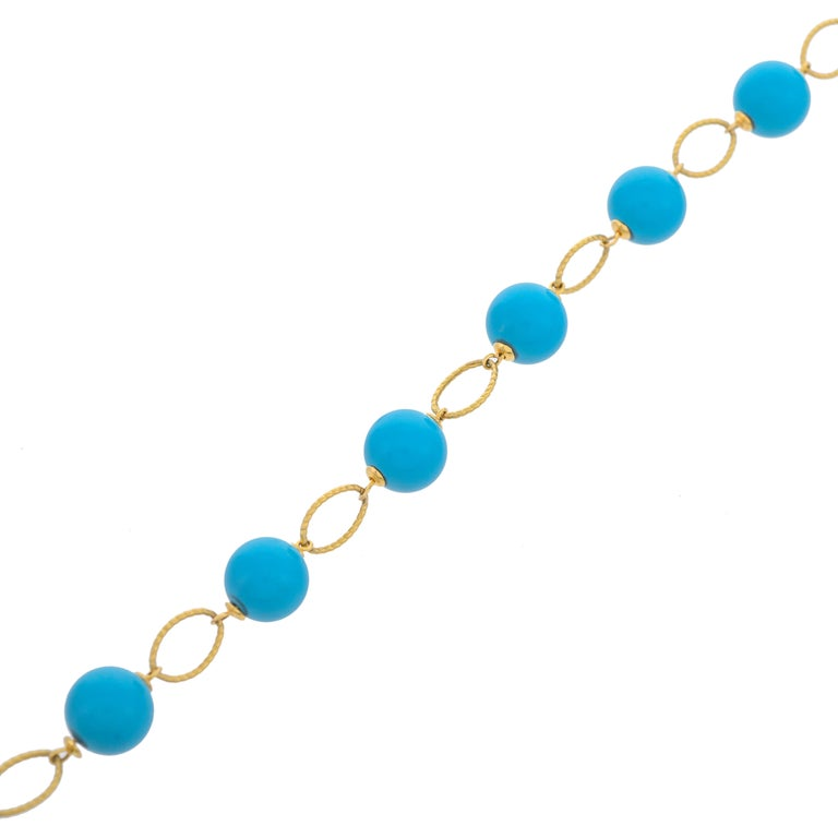 45.71 Carat Turquoise Blue Sapphire 18 Karat Gold Link Bracelet In New Condition In Jaipur, Jaipur