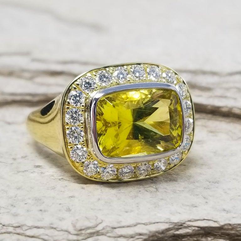 Women's or Men's Cynthia Scott 4.57 carat Canary Yellow Tourmaline Aphrodite Ring, GIA Report For Sale