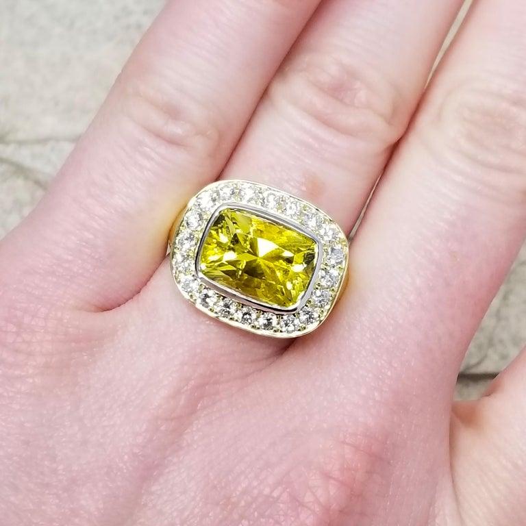 Cynthia Scott 4.57 carat Canary Yellow Tourmaline Aphrodite Ring, GIA Report For Sale 1