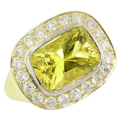 4.57ct Canary Tourmaline, Diamond, Platinum and 18kt Ring GIA Report #2195710282