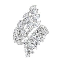 4.57 Carat Spiral Diamond Ring, 18 Karat Carat Gold, Round and Marquise Diamonds