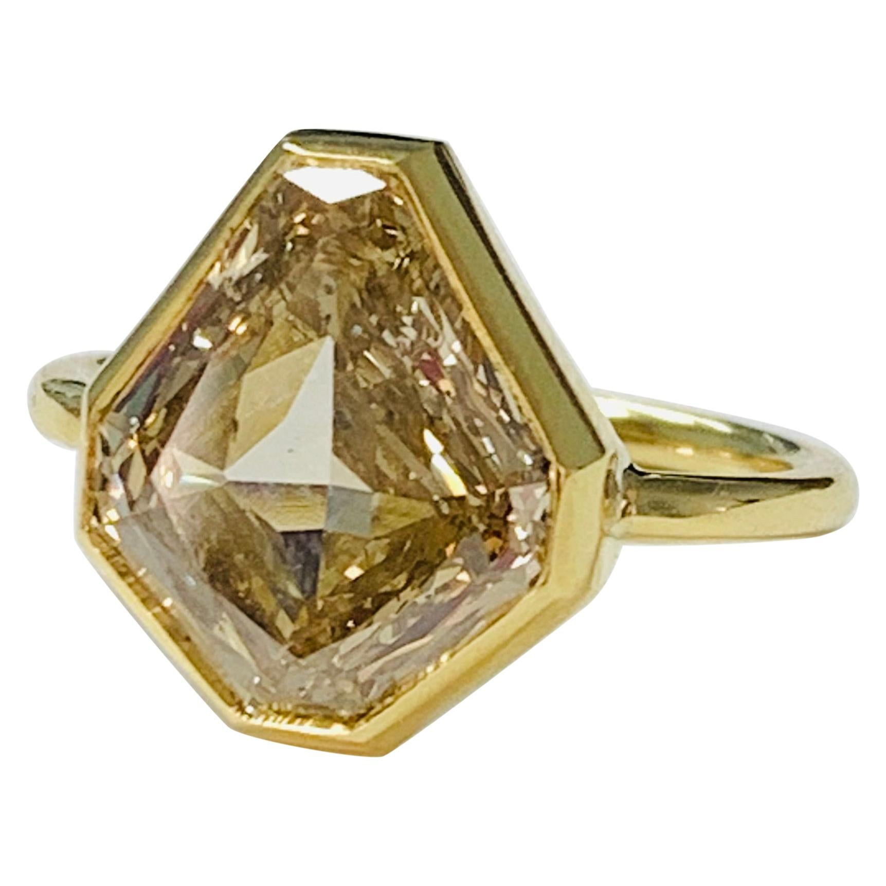 4.58 Carat Brown Yellow Shield Cut Diamond Engagement Ring in 18K White Gold