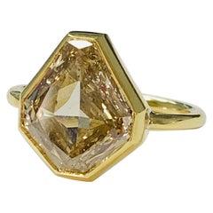 4.58 Carat Brown Yellow Shield Cut Diamond Engagement Ring in 18K White Gold