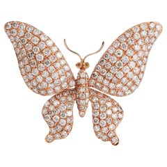 4.58 Carat Diamond Butterfly 18 Karat Pink Gold Brooch Pin