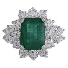 4.58 Carat Emerald 18 Karat White Gold Diamond Ring