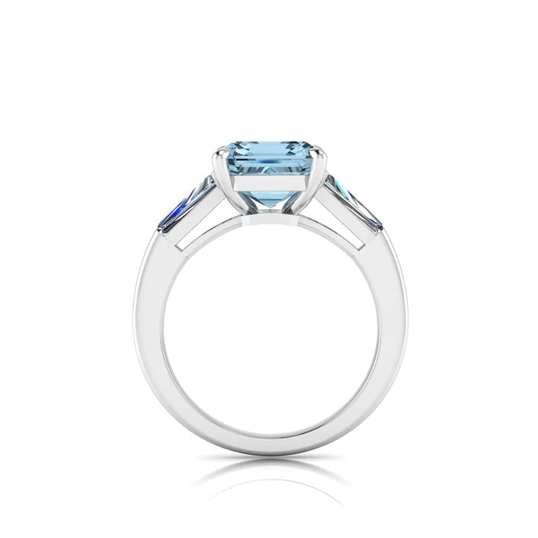 Emerald Cut 4.58 Carat Emerald Aquamarine 0.40 Carat Baguette Diamonds Cocktail Ring For Sale