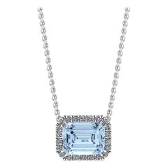 3.85 Carat Emerald Aquamarine Diamond Halo Platinum 950 Necklace Pendant