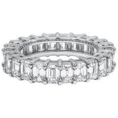 4.58 Carat Emerald Cut Diamond Eternity Wedding Band