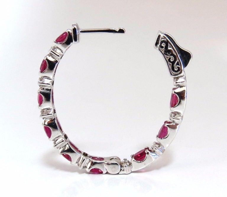 Women's or Men's 4.58 Carat Natural Red Ruby Diamond Hoop Earrings 14 Karat Gold For Sale