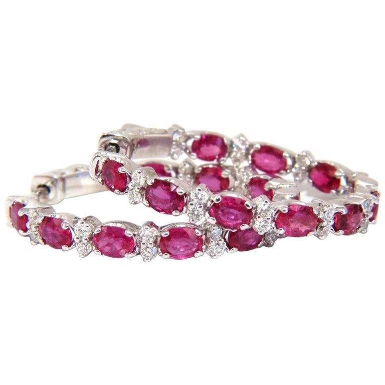 4.58 Carat Natural Red Ruby Diamond Hoop Earrings 14 Karat Gold For Sale