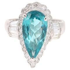 4.58 Carat Pear Cut Apatite Diamond 14 Karat White Gold Engagement Ring