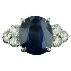 4.58 Carat Thai Blue Sapphire and Diamond Ring in Platinum