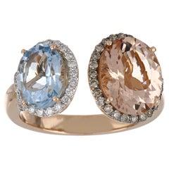 4.58 Carat Total Morganite and Aquamarine Ring with Diamonds in 18K Rose Gold