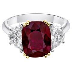 4.58 Carat Vivid Pigeon Blood Red Ruby GRS Certified Unheated Ring Cushion Cut