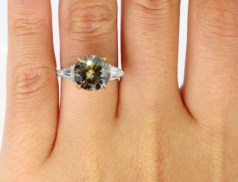 4.58ct Natural Fancy Brown Greenish Yellow Round Diamond 3-Stone Platinum Ring For Sale 5