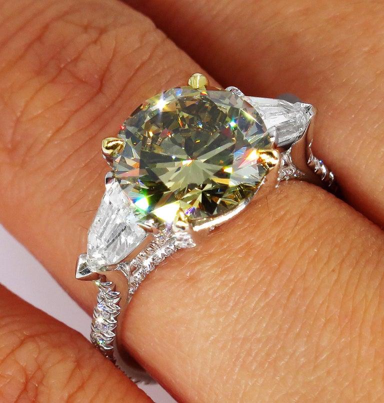 4.58ct Natural Fancy Brown Greenish Yellow Round Diamond 3-Stone Platinum Ring For Sale 7