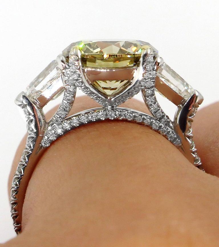 4.58ct Natural Fancy Brown Greenish Yellow Round Diamond 3-Stone Platinum Ring For Sale 9