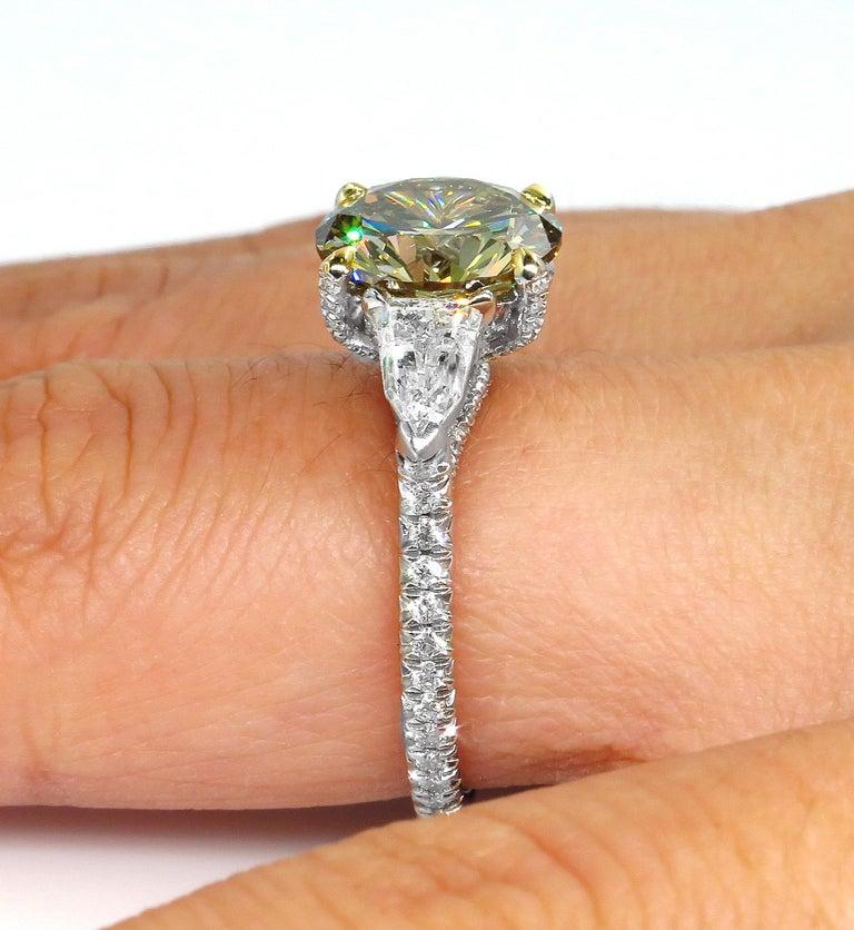 4.58ct Natural Fancy Brown Greenish Yellow Round Diamond 3-Stone Platinum Ring For Sale 10