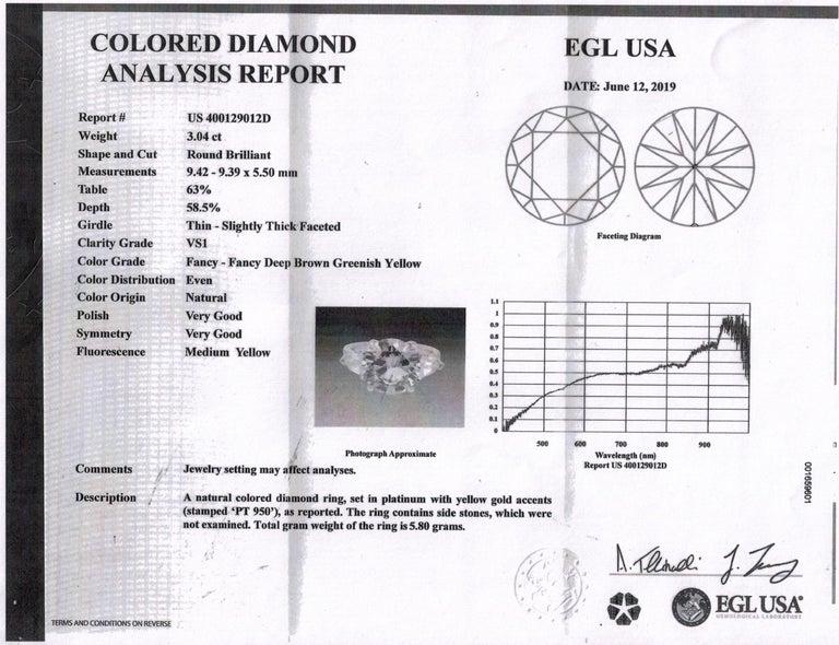 4.58ct Natural Fancy Brown Greenish Yellow Round Diamond 3-Stone Platinum Ring For Sale 11