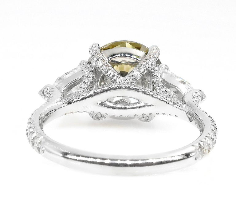 4.58ct Natural Fancy Brown Greenish Yellow Round Diamond 3-Stone Platinum Ring For Sale 2