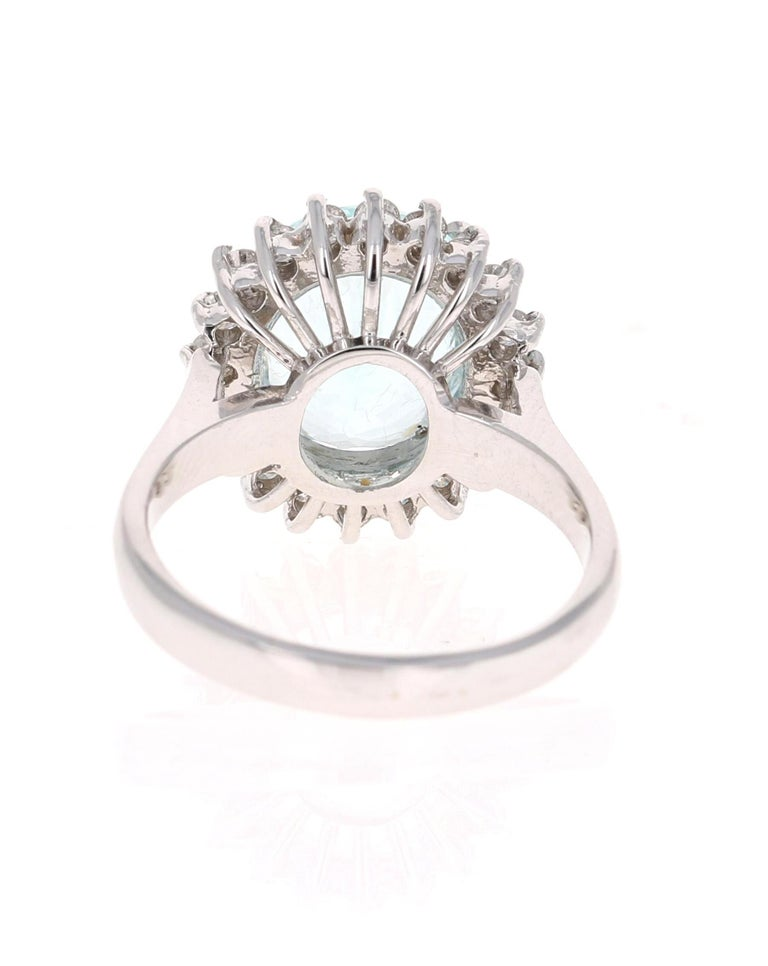 Oval Cut 4.59 Carat Aquamarine Diamond 14 Karat White Gold Ring For Sale