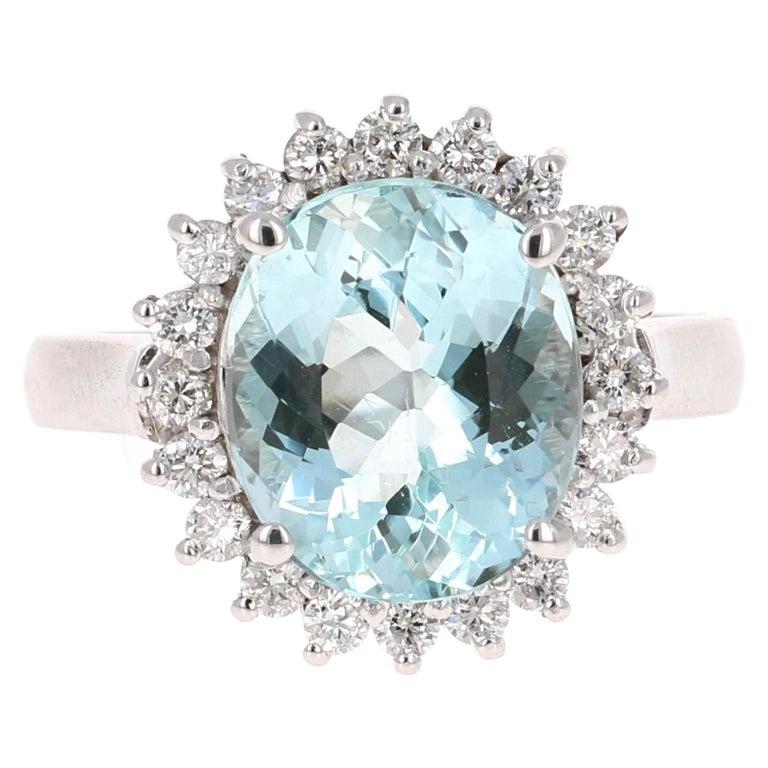 4.59 Carat Aquamarine Diamond 14 Karat White Gold Ring For Sale