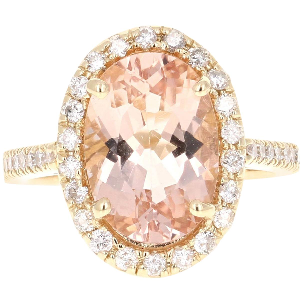 4.59 Carat Morganite Diamond 14 Karat Yellow Gold Ring