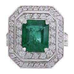 4.59 Carat Natural Emerald 18 Karat White Gold Diamond Ring