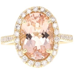 4.59 Carat Oval Cut Morganite Diamond Yellow Gold Ring