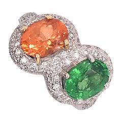 4.59 Total Carat of Tsavorite and Spessartite, Diamond Gold Ring