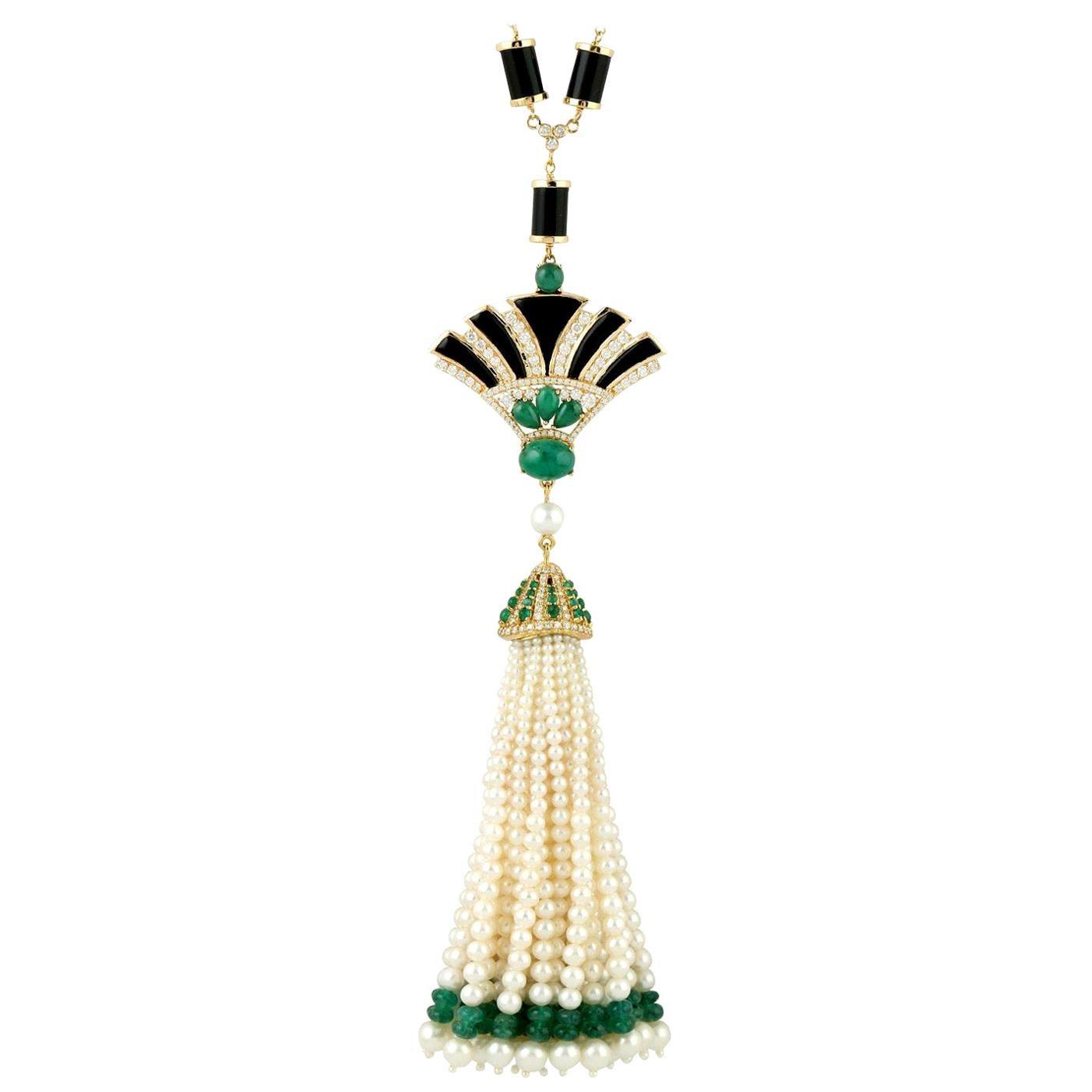 45.96 Carat Emerald Diamond Art Deco Style 18 Karat Gold Pearl Tassel Necklace