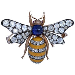 4.5 Carat Diamonds Sapphire Guilloche Enamel Yellow Gold Bee Brooch 1900