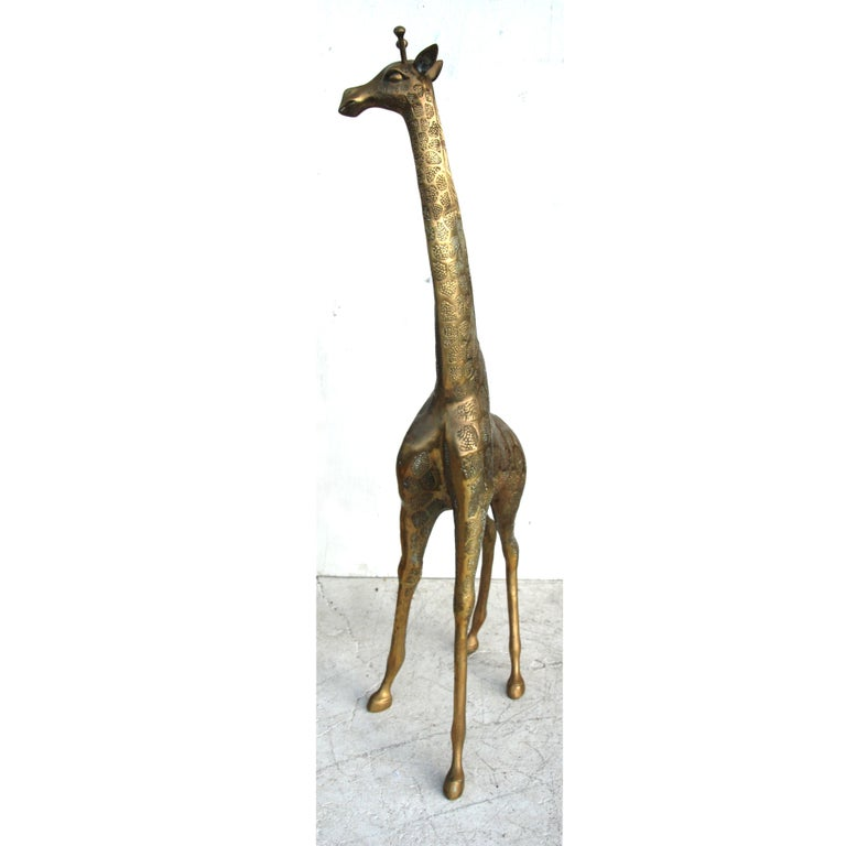 Hollywood Regency Brass Giraffe For Sale