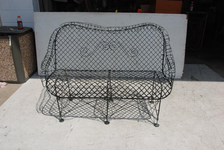 Woven 4.5FT French Outdoor Settee For Sale