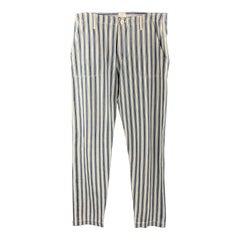 45rpm Size 32 Blue & White Stripe Cotton Button Fly Straight Leg Pants