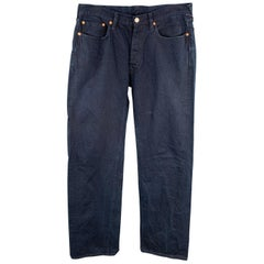 45rpm Size 34 x 35 Indigo Navy Dyed Cotton Button Fly Jeans