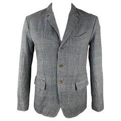 45rpm Size L Blue & Grey Houndstooth Cotton Notch Lapel Sport Coat