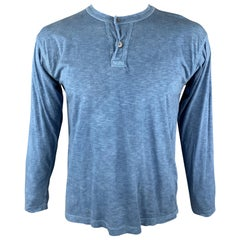 45rpm Size L Blue Heather Cotton Half Buttoned Henley Pullover