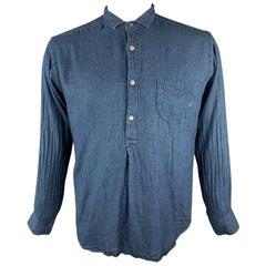 45rpm Size L Indigo Cotton Half Button Long Sleeve Shirt