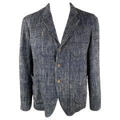 45rpm Size L Navy Woven Cotton / Linen Notch Lapel Sport Coat