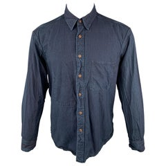 45rpm Size M Navy Washed Dyed Cotton Button Up Pocket Shirt