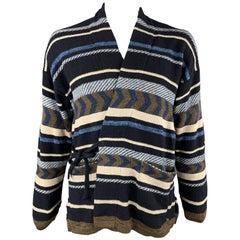 45rpm Size XL Navy & Brown Striped Pattern Cotton Tie Closures Cardigan