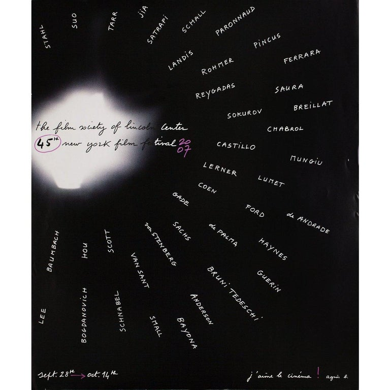 Original 2007 U.S. poster by Agnes B. for the 1963 festival New York Film Festival. Very good-fine condition, rolled. Please note: the size is stated in inches and the actual size can vary by an inch or more.