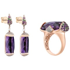 46 Carat Amethyst and Diamond Ring and Earring Set in 18 Karat Rose Gold