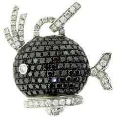 4.6 Carat Diamond and Black Diamond in White Gold Fish Pendant
