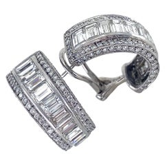 4.6 Carat Diamond Half Hoop Earrings with Omega Clips, in Platinum & White Gold